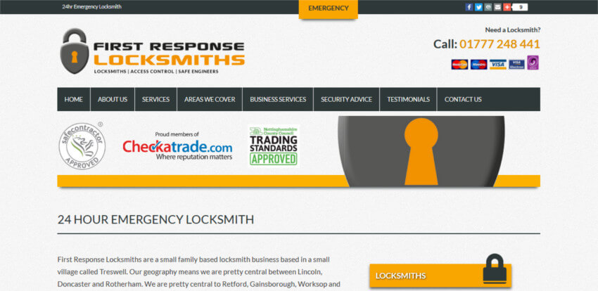 First Response Locksmiths Website